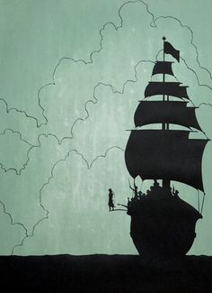 Peter Pan walking the plank of Hook's pirate ship. Jm Barrie, Instalation Art, Walking The Plank, Pirate Life, Pirate Art, Pirates Of The Caribbean, Disney Love, Neverland, Paper Cutting