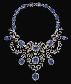 Sapphire and diamond necklace, late 19th century. From the Habsburg Sapphire Parure of Empress Marie-Louise of France