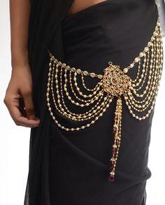 Pearl Tasseled Sari Belt  by Bansri Joaillerie
