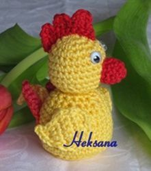 Bild Easter Crochet, Crochet Baby, Crochet Chicken, Paper Houses, Drops Design, Crochet Animals, Yoshi, Free Pattern, Birds