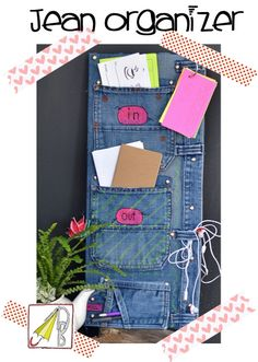 In-jean-ious mail organizer made from old blue jeans (@ Nellie Bellie)