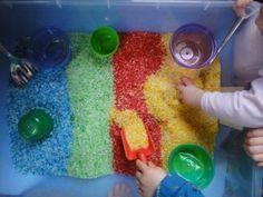rice table, rice sandbox, sensory tub, rice activities, play with rice, rice sand box, indoor sandbox, homeschool, preschool, homeschool preschool, toddler activities, rainy day activities
