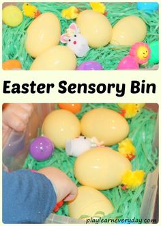 A fun and easy to set up Easter sensory bin for toddlers and young children.