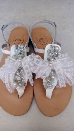 Handmade leather sandals with pearls and lace designed by Elli lyraraki!!