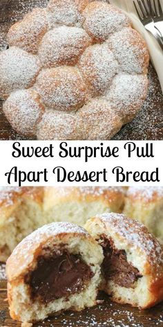 Sweet Surprise Dessert Bread, A Delicious Pull Apart Bread Stuffed With Different Fillings. Ideal For Breakfast Or Dessert Kid Friendly. Yeast Bread Recipes, Pastry Recipes, Baking Recipes, No Bake Desserts, Delicious Desserts, Yummy Food, Cheesecakes, Donuts, Biscuit Bread