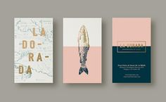 La Dorada is a seafood bistro that will open its doors in 2015 in México D. Buenos Aires based branding & design studio developed this whole identity for La Conceptualist. The ide. Brand Identity Design, Graphic Design Branding, Corporate Design, Business Card Design, Logo Design, Web Minimalista, Restaurant Logo, Seafood Restaurant, Restaurant Design