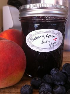 Blueberry Peach Jam - I'm going to try this without pectin and also reducing the sugar. That means longer cook time, but goodness gracious, it'll be worth it.