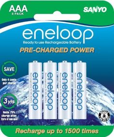 Sanyo NEW 1500 eneloop 8 Pack AAA Ni-MH Pre-Charged Rechargeable Batteries by Sanyo, http://www.amazon.com/dp/B005ILYG4M/ref=cm_sw_r_pi_dp_EYlLqb1QKTSFN