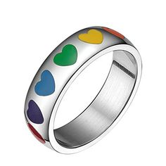 316L Stainless Steel Domed Designed Rainbow Heart Ring for Men and Women 7 ** Learn more by visiting the image link. (This is an affiliate link)