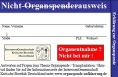 Nicht Organspenderausweis