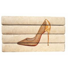 Gold Mesh Louboutin Heel Hand Bound Vintage Book Set