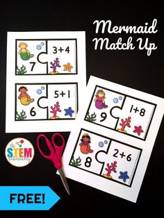 A fun way to work on math this summer- Mermaid Addition Match Up. Practice addition facts up to ten with this fun hands on math activity for first grade