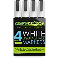 Crafty Croc 4 White Liquid Chalk Markers 6mm Reversible Tip You