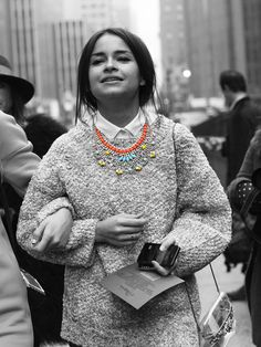 How #cute is this look? A great way to #style a #statement #necklace for the coming #autumn months #streetstyle #AW/14. Get 15% off! Use #discountcode: PIN15 at the #accessoryo checkout!