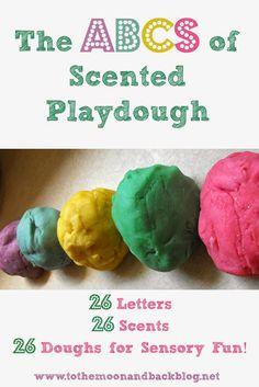 ABCs of Scented Playdough, 26 amazing scented homemade playdough recipes!!