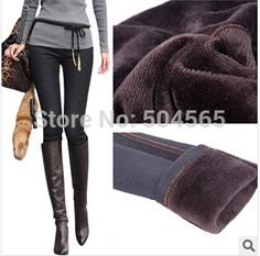 2014 Winter New Women Faux Jeans Solid Warm Thicken Fleeces Pencil Pants Footless Leggings Plus Size LG-171