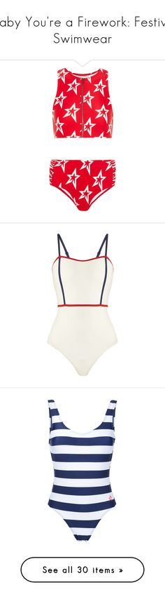 """Baby You're a Firework: Festive Swimwear"" by polyvore-editorial ❤ liked on Polyvore featuring fourthofjuly, swimwear, bikinis, red, zipper swimwear, bikini swimwear, mid rise bikini, zipper bikini, sport bikini swimwear and one-piece swimsuits"