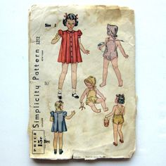 1940s Vintage Sewing Pattern Child's Dress by SelvedgeShop on Etsy