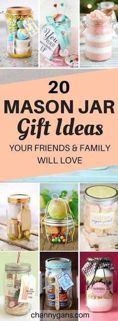 These mason jar gift ideas are AWESOME! My friends and family will ADORE these gifts! I'm definitely repinning this gift guide! #masonjar #masonjargifts #gifts #giftideas