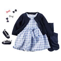 Trend alert! Gingham in soft pastels paired with classic navy. We've got her head-to-toe look at carters.com.