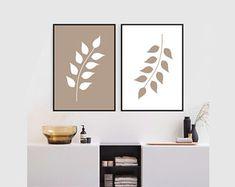 Set of 2 botanical prints brown white leaf Printable wall art set Digital Prints Abstract Canvas Art, Diy Canvas Art, Diy Wall Art, Wall Art Sets, Wall Art Decor, Modern Art Paintings, White Leaf, Panel Art, Wall Art Quotes