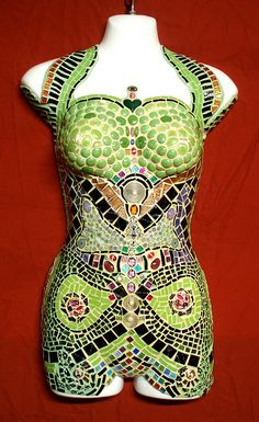 Madame Butterfly by Glassjan - Mosaic Art, via Flickr. hmmmm i have 3 of these forms and oh the possibilities...