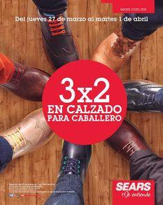 Sears: 3×2 en calzado para caballero Las tiendas departamentales Sears cuentan con una muy buena oferta y promoción en calzado para caballero, pues tienen 3×2 en calzado para caballero (compra 2 pares de zapatos, el tercero te lo llevas gratis). *No participa la mercancía en liq... -> http://www.cuponofertas.com.mx/oferta/sears-3x2-en-calzado-para-caballero/