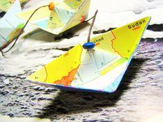Girlande ♥ PAPIERSCHIFFCHEN *Landkarte* von Papierstückle auf DaWanda.com