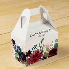 Burgundy Red Navy Floral Rustic Boho Wedding Favor Box - red gifts color style cyo diy personalize unique