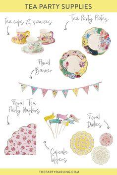 Cupcake Picks /& Cups Napkins VINTAGE ROSE TEA PARTY SET-Floral Pink Kit:Plates