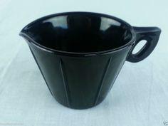 Black Amethyst Glass Creamer Cream Pitcher Raised Rib Design Vintage