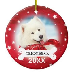 Red Personalized Dog Pet Photo Christmas Ornaments - red gifts color style cyo diy personalize unique