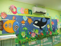 ocean bulletin board with submarine School Displays, Classroom Displays, Classroom Themes, Under The Sea Crafts, Under The Sea Theme, Ocean Crafts, Fish Crafts, Class Decoration, School Decorations
