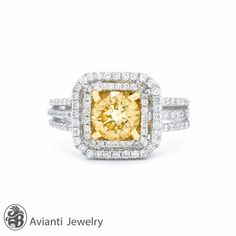 Canary Diamond Engagement Ring, Engagement Ring, Split Shank Ring | LDR01902 on Etsy