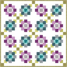 """Free Pattern now available! """"Violette"""" designed by Shelley Cavanna. Uses her Gloaming collection for Contempo Studio."""