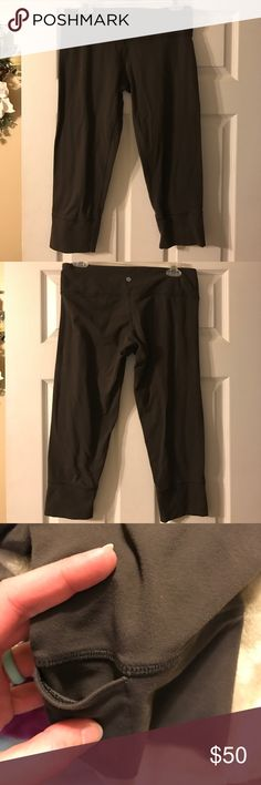 Lululemon brown Capri Unsure of size, it is either a 10 or 12.  Too big for me.  Deep chocolate color, little piling in crotch, reflected in price.  Hidden pocket in bottom cuff of left leg. lululemon athletica Pants Capris