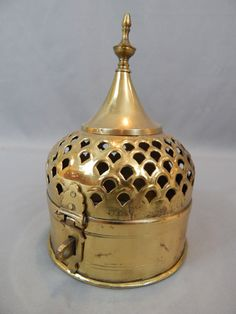Unusual Vintage Brass Chinese Cricket Cage - Gorgeous Dome Design with Pierce Work, Circa 1950s
