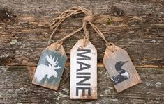 These Maine-made rustic tag sets by The Unpolished Barn LLC make fun gifts for those who love Maine, the beach, or skiing. Each tag is stained, hand painted, and distressed to create that perfectly worn look The Unpolished Barn is known for.   Shop for these tags and other Maine-made products on shop.downeast.com.