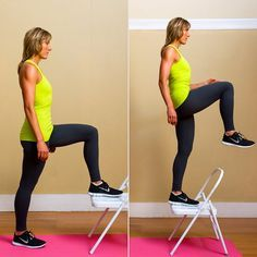 Step-ups are a great exercise to work your thighs, glutes, and hips simultaneously.