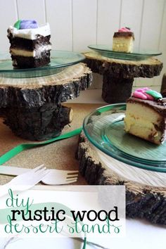diy rustic wood dessert stands | Little Dove Blog