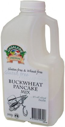 Casalare Buckwheat Pancake Mix Ingredients: Buckwheat Flour (30%), Sugar, Rice Flour, Tapioca Starch, Maize Flour, Gluten free Raising Agents (450, 500), Salt, Cassia.