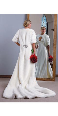 White Mink Faux Fur Cape | Fabulous-Furs