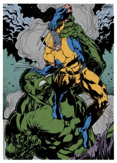 Wolverine Vs Hulk By by rbbflat on DeviantArt Heros Comics, Dc Comics Superheroes, Marvel Comics Art, Anime Comics, Hq Marvel, Marvel Heroes, Comic Sans, Character Drawing, Comic Character