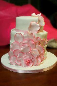 Lick The Spoon: Fondant Rose Petal Engagement Cake