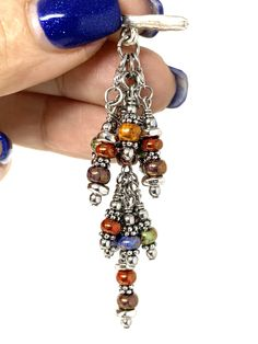 Colorful Boho-Chic Beaded Cluster Pendant — Solid pewter twig bar easily inserts in circular toggle that is included and attached to every Stainless Steel Chain. Once bar is inserted you're all set to go. Beaded Tassel Earrings, Women's Earrings, Charm Necklaces, Round Earrings, Stainless Steel Chain, Pewter, Boho Chic, Colorful, Bar