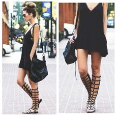 Black Caged Stud Gladiator Knee Sandals Size 7.5 Springs hottest trend!  Black caged gladiator knee sandals, gold stud accents, side zipper, faux suede, size 7.5. Last pic is actual shoe.  No Trades, Price Firm unless Bundled.  BUNDLE 3 OR MORE ITEMS FOR 15 % OFF. Boutique Shoes Sandals