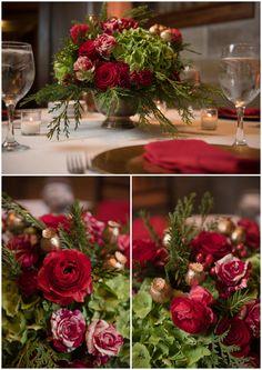 #wedding #centerpiece #winterwedding #rose #event #greenandred