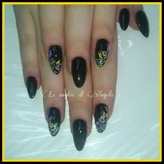 Gel nails, almond shape with rainbow flowers
