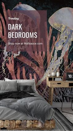 Say goodbye to plain white walls and interiors. Say HELLO to dramatic, dark bedroom spaces! 😍 From black and plum-purple jellyfish to navy and gold-toned whales, SpaceFrog Designs certainly know a thing or two about dark interior design. Which is your favourite? #sealifewallpaper #darkwallpaper #blackwallpaper #navywallpaper Master Bedroom Design, Modern Bedroom, Perfect Dark, Designer Wallpaper, Interior Design Tips, Beautiful Bedrooms, Wall Murals, Wall Design, Oriental Wallpaper