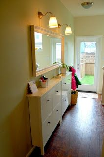 Great storage idea for places that you don't have a lot of room--Picket Fence Design: IKEA FRIDAY - Meet the HEMNES SHOE CABINET